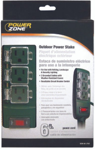 Powerzone OR8CB003 Yard Stake, 125 V, 13 A, 3 Outlet