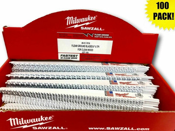 "Milwaukee 48-01-7016 (100 Count) 9"" 6 TPI Fleam Ground Sawzall Blades"