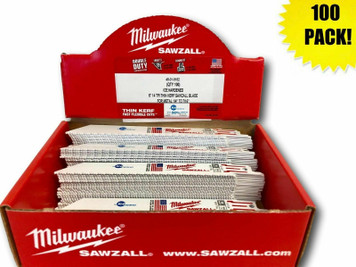Milwaukee 48-01-9182 (100 Count) 6 in. 14 TPI Ice Hardened Thin Kerf Sawzall Blades