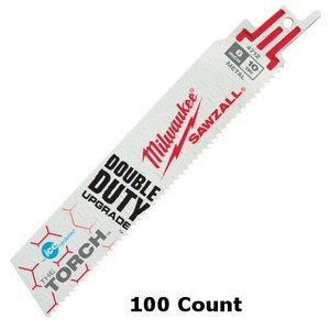 Milwaukee 48-01-9712 (100 Count) 6 in. 10 TPI Ice Hardened, Torch, Sawzall Blades