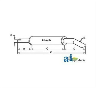 A & I Products 194431M1 Muffler for Massey Ferguson 165 175 180 Loader Tractor