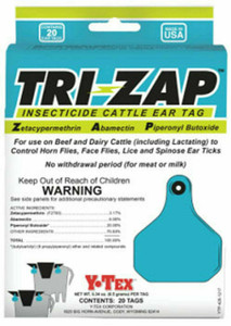 Y-Tex Corp. 1625000 Tri-Zap 20 Count Insecticide Fly Cattle Ear Tags