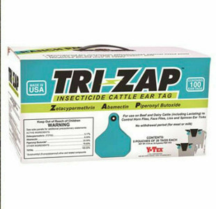 Y-Tex 1625003 Tri-Zap 100 Count Per Box Insecticide Fly Cattle Ear Tags Ranch Pack