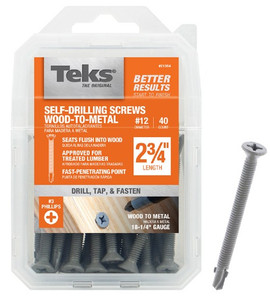 "Buildex 21384 Teks Pack of 40 #12 x 2 _"" Self Tapping Wood to Metal Screws"