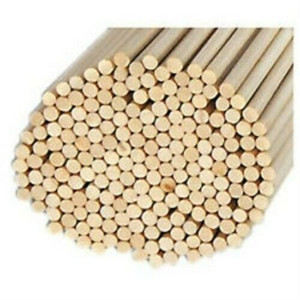 "Pack of 100 Round Hardwood Dowel Rods 1/4"" Dia x 36"" Long 6304UB C.C. Lt Grn"
