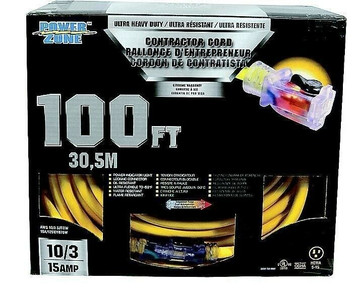 Power Zone ORP511935 Heavy Duty 100' Extension Cord 10/3 15 Amp