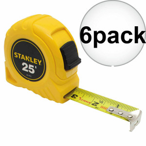 "Stanley 30-455 Case of (6) 1"" x 25' Yellow Tape Measure Rule Top Lock"