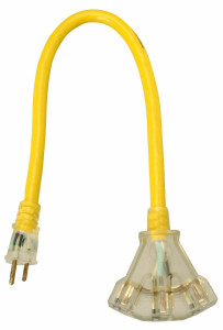 Coleman Cable Yellow Jacket 12/3 3 Plug Lighted Power Block