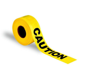 "Hanson Co Barrier Tape Roll 1000' x 3"" Caution Yellow w/ Black Print"