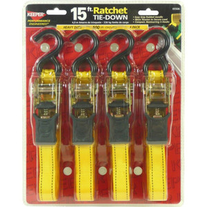 Keeper Corporation 4 -15' Ratchet Tie-Down Straps with Padded Handles