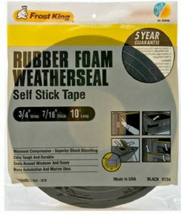 "Frost King R734H 3/4"" x 10' Black Foam Weather Stripping Tape Self Adhesive"