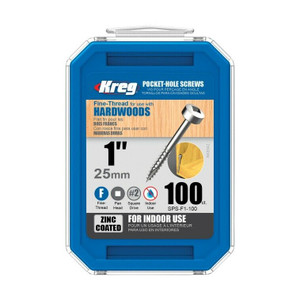 Kreg 100ct #6 X 1in Zinc Pan Head Fine Thread Pocket Hole Screws