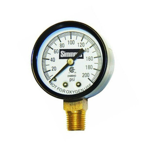"Simmons Well Pressure Gauge Air / Steam / Water - 200 psi - 1/4"" Connection"
