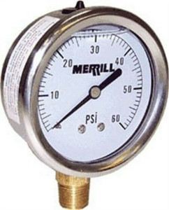 Merrill PGLNL100 No Lead Liquid Filled Pressure Gauge 0-100 PSI