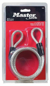 "Master Lock 65-D Vinyl Coated 1/4"" X 6' Coiled Cable"