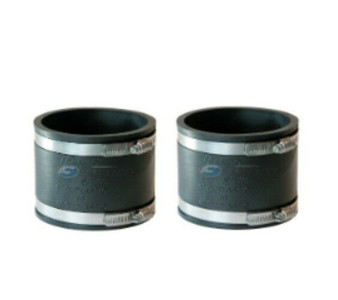 """Fernco 1056-44 - 4"""" x 4"""" Flexible Pipe Connector Coupling - 2 Pack"""