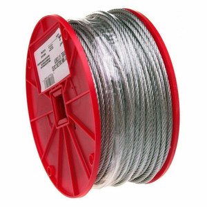 "Galvanized Aircraft Steel Rope Cable 1/4"" x 250' Roll (7000827)"