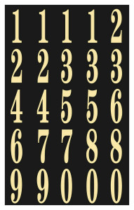 "Hy-Ko MM-3N - 2"" Gold On Black Adhesive Stick Number Set"