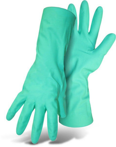 Boss 118L Protective Gloves, Large, Nitrile, Green, Cotton Lining