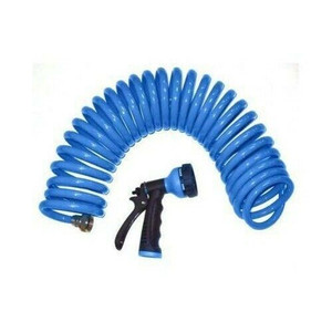 Fifty (50) Foot Long Self Coiling Garden Water Hose w/Nozzle GT-445030