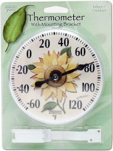 "Taylor 5638 6"" Diameter Outdoor Thermometer With Sunflower Inset Design. Window Or Wall Mount For Versatility"