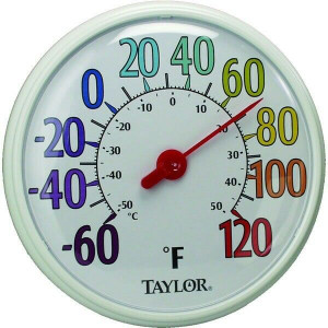 "Taylor 6714 13.25"" Color Track Indoor Outdoor Dial Thermometer"