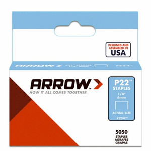 "Arrow Fastener Company 224 Staples 1/4"" Pack of 5000 For P22"