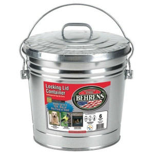Behrens 6106 Six (6) Gallon Can Galvanized Metal Pail Locking Lid w/ Handle