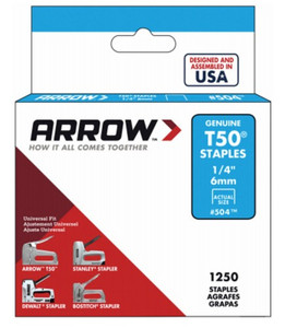 "Arrow 504 1/4"" T50 Staple Gun Staples 5,000 Saples - Lot of 4 Packs"