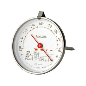 """Taylor 5939N Round Dial Stainless Steel 5-1/2"""" Long Meat Thermometer"""