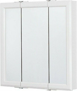 "RSI Home Products 24""W, White Framed Tri-View Mirrored Medicine Cabinet,"