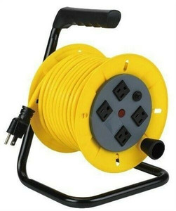 Alert 7140A 40' Wind Up Extension Cord Reel w/ Steel Frame & 16/3 Yellow Cord
