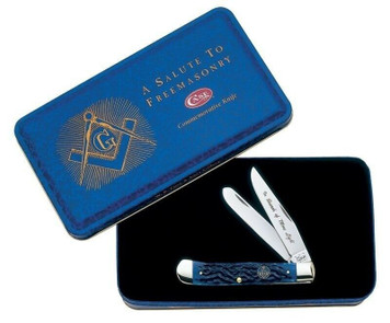 Case XX 1058 Gift Sets Trapper Masonic Gift Set Pocket Knife w/ Masonic Gift Tin