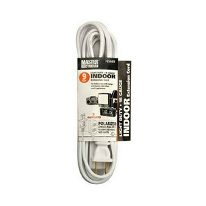 Lot of 5 White Extension Cords 9' - 3 Outlet 16/2 SPT-2