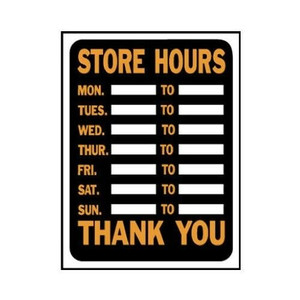 "Lot 10 Hy-Ko 3030 Plastic Customizable Store Hours 9 x 12"" Sign Orange and Black"