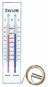 Taylor 5327 Indoor Outdoor Grove Park Thermometer w/ Bold, Colored Numbers & Large Face