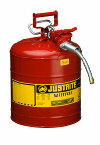 "Justrite Type 2 Safety Can 5 Gallons w/ 9"" Hose for Flammable Liquids"