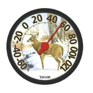 Taylor 6709E White Tail Deer Indoor Outdoor Shatterproof Thermometer
