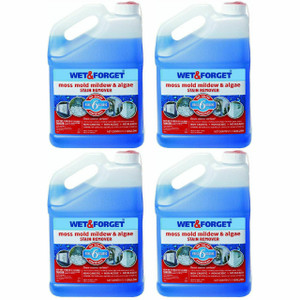 (Lot Of 4) Wet & Forget 800006 1 Gallon Moss Mold Mildew & Algae Stain Remover