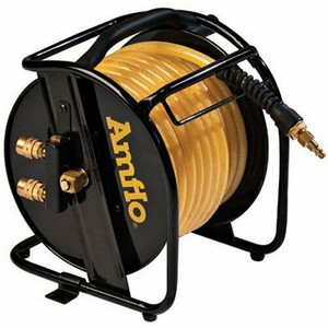 "Amflo 545HR-RET Manual Hose Reel With 200 PSI 3/8"" x 75' Polyurethane Gold Air"