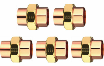 """Elkhart Lot of (5) Five 3/4"""" Copper to Copper Union Plumbing (33582)"""