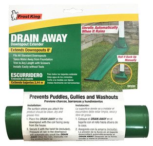 Frost King Drain Away DE200 (12) 8' Roll Out Green Downspout Extender Extension