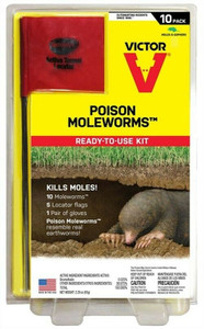 Victor M6009 Poison Mole Worms 10 Count Per Package