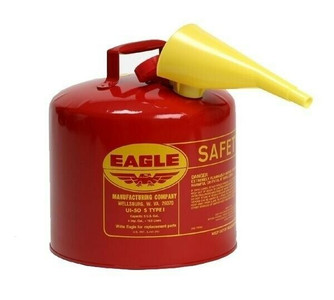 Eagle Mfg. UI-50-FS Lot of 2 Red Type 1 Safety 5 Gallon Fuel Can w/ F-15 Funnel