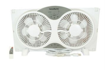 HomeBasix BP2-9A White 9 Inch Reversible Window Fan with Digital Thermostat