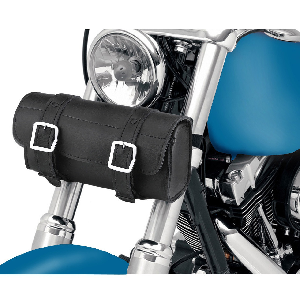 Armor Plain Motorcycle Tool Bag In front of Bike View