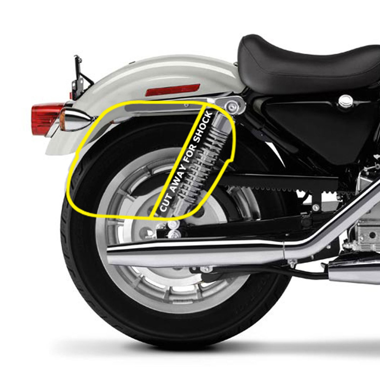 CHAR Shock Cut Out Saddlebags  Bag Placement
