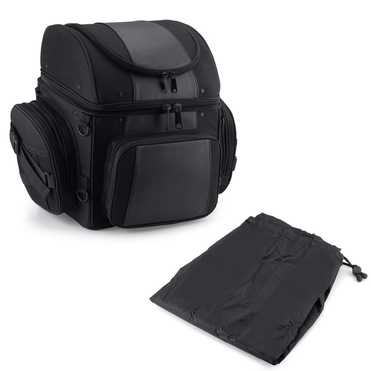 Large Back Motorcycle Seat Luggage (4080 cubic inches)   Main image  with Accessories