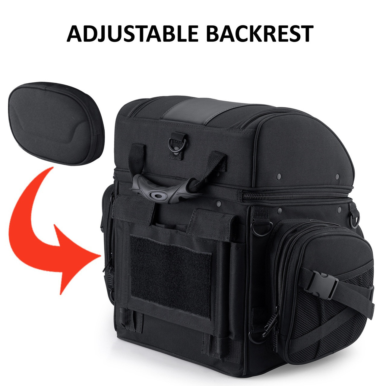 Large Back Motorcycle Seat Luggage (4080 cubic inches) Adjustable Backrest