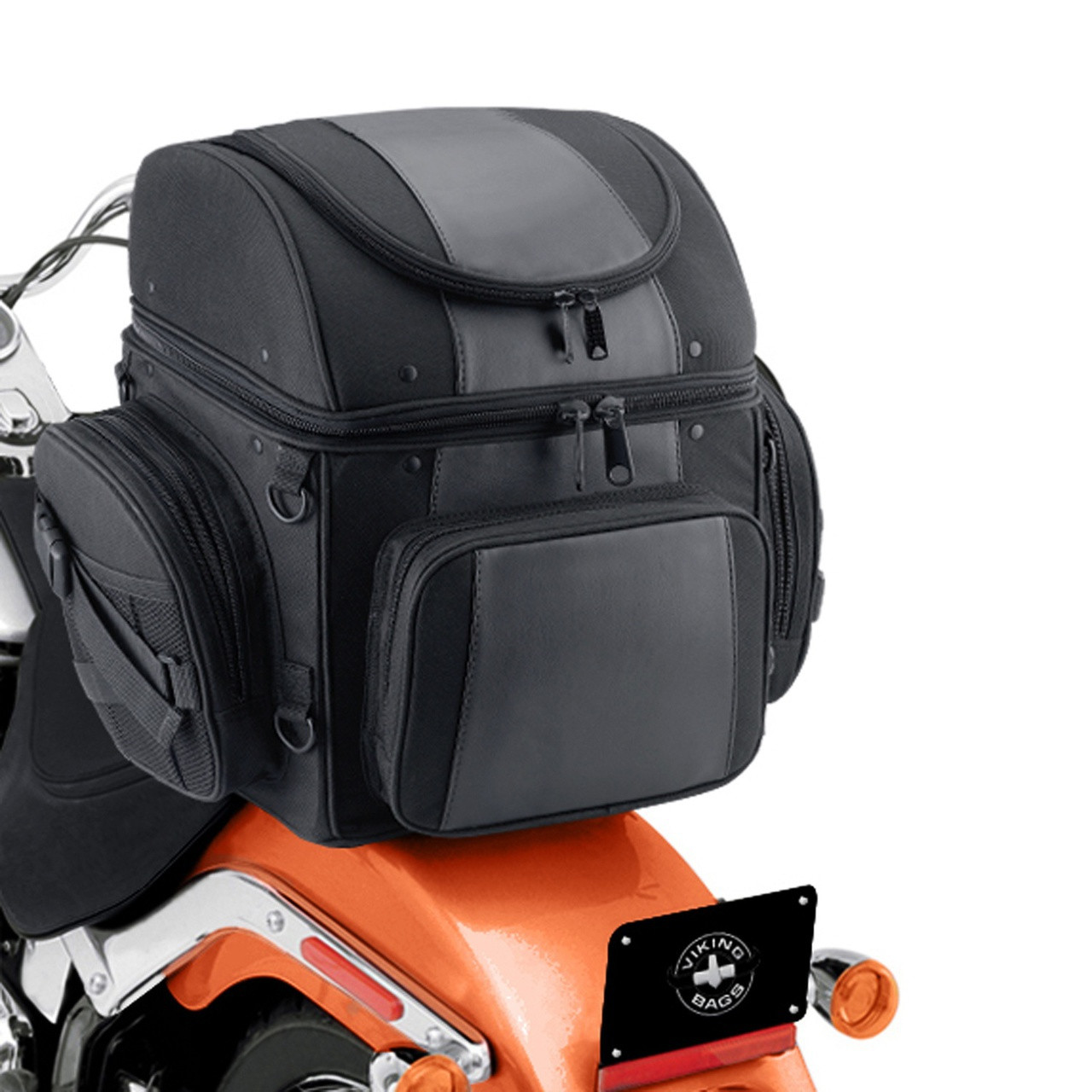 Large Back Motorcycle Seat Luggage (4080 cubic inches)  Back on Bike View